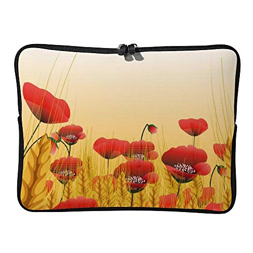 DKISEE Poppy Lawn with Wheat Laptop Sleeve Case Bag Cover Compatible 10 inches Notebook MacBook Air MacBook Pro - Hp-laptop-disney Cover