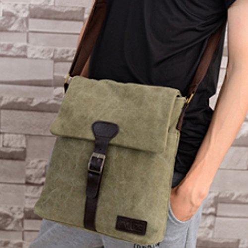 Nk's store Canvas Vintage Mode Freizeit Tasche, multifunktionale geneigter Schulterbeutel mit stilvollem Design. viel Platz, um eine Menge Sachen für den täglichen Bedarf zu halten. Dunkelgrün