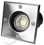 5er Set Bodeneinbaustrahler mit 3 Watt LED COB - Leuchtmittel in tageslichtweiß, befahrbar bis 5 Tonnen, Bodeneinbauleuchte, Bodenstrahler