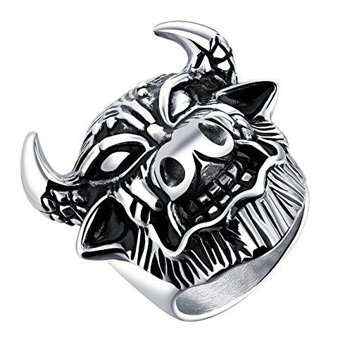 tahl Vintage Gothic Biker Hannya Maske Dämon Kopf Bull Horn Ring Coole Punk Größe 65 ()