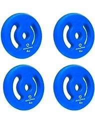 4x disques d'haltères 100% fonte de 1 kg, 2 kg, 3 kg, 4 kg, 5 kg/colorés selon le poids! Perçage de 30/31 mm avec film néoprène pour l'amortissement. Utilisation variable: haltère court ou haltère long