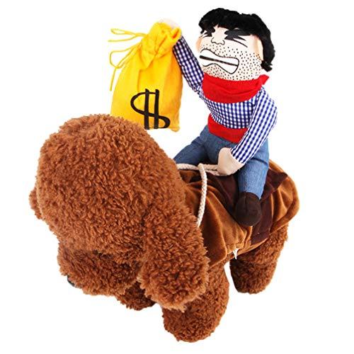 Amosfun Haustierkostüm Cowboy Outfit Reiter Geldbörse lustige Haustierkostüm Hund weichen Sattel gefüllte Dekoration Prop Welpen - Einfache Office Halloween Kostüm