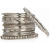 JDX Silver Plated Bangle Set For Women -Silver Size_2.6