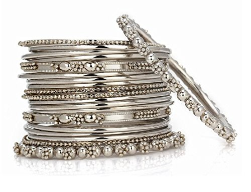 jdx silver plated bangle set for women -silver size_2.6 JDX Silver Plated Bangle Set For Women -Silver Size_2.6 51hxW1AcTPL