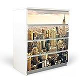 YOURDEA Möbelfolie für Ikea Malm Kommode mit 4 Schubladen / Klebefolie 4-teilig ca. 80x100cm / Möbelsticker selbstklebend mit Motiv New York City