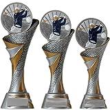 KDS® FG Pokal L Trophäe Golf Golfer mit Emblem 70 mm aus Resin Kunstharz Massiv ca. 26 cm Hoch