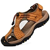 Rismart Hombre Punta Cerrado Gancho y Bucle Al Aire Libre Excursionismo Cuero Zapatos Sandalias y Chanclas SN1505(Broncear,EU42)