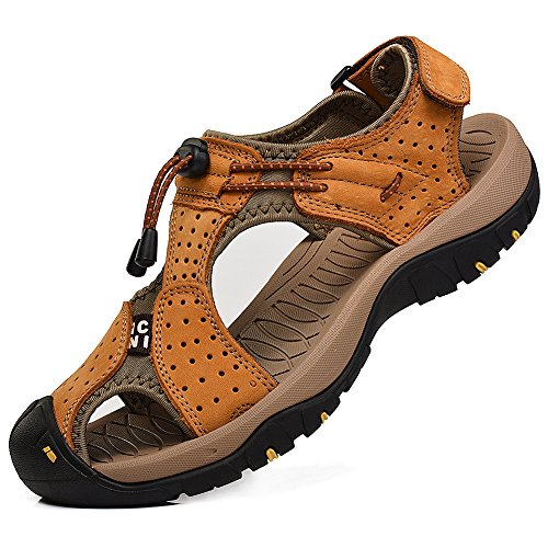 Rismart Men's Closed-Toe Hook&Loop Outdoor Hiking Leather Shoes Sandals SN1505(tan,uk10)
