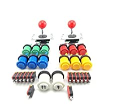 WINIT 2 Player Arcade DIY Parts Kit 12* Happ Push Button with Microswitches + 2* 5Pin 8 Way Joystick + 1* 1 Player and 2 Player Button with Microswitches for USB MAME Projects