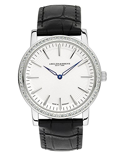 Abeler & Söhne fabricado en Alemania–Reloj de pulsera para mujer con cinta de piel, cristal de zafiro y Circonia as1202