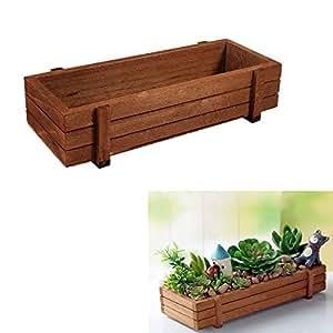GOTOTOP 3 Pezzi Vaso per Fiori a Forma di Cassetta di Legno,rettangolo Pianta Succulente Scatola a Fiori Fioriera,Fioriera da Giardino fioriera Vaso di Piante grasse aiuola