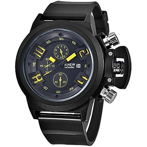 Silica Sport Data Cronografo analogico al quarzo orologio da polso impermeabile,Fami (giallo)