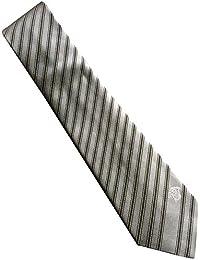 Versace Silver Grey Stripe 100% Silk Men's Tie