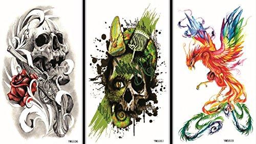 Spestyle gefälschte Tätowierungen, die reale 3pcs Halloween gefälschte temporäre Tätowierung Aufkleber in einem Paket aussehen, einschließlich es schrecklich Schädel und bunten Phönix.