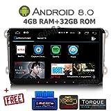 GÜMÜ - PX5PROAV01- Autoradio GPS pour Volkswagen 9 Pouces - Android 8.0 Oreo + 4GB de RAM - Bluetooth- clé USB- WiFi - pour VW, Golf 5,Golf 6,Passat,Tiguan, Polo, Touran, EOS, Seat, Skoda