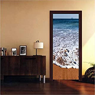 YS753 Door Mural Wrap Glossy Bubble Free Sticker Architectural Carved Doors Peel and Stick Easy to Clean Beach Art Doors Sticker 3D 77X200Cm