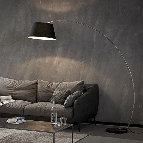 Bogenlampe Stehleuchte Zijlstra 7941/44 Schwarz Ø50cm Stoffschirm Wohnraumbeleuchtung Standlampe E27 Fußschalter im Kabel
