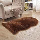 Schaffell Teppich Kunstpelz Weicher Flaumiger Schaffell Plüsch Boden Matte Verwendbar Für Stuhl Sofakissen(6-8cm Haar Länge),Brown-65 * 100cm(25.5''*39.3'')