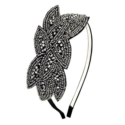band Damen Haarreif Gatsby Kostüm Accessoires 20er Jahre Flapper Haarband (Schwarz) (20er Jahre Flapper Halloween Kostüm)