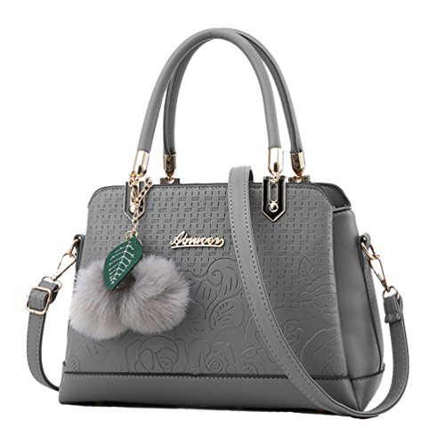 Sentao Moda Borse a Mano Donna Messenger Bag Borse in PU Pelle Tote Borsa Scuro Grigio