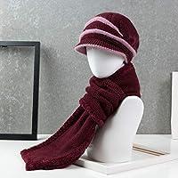 Sombrero - Gorro de Invierno cálido, Grueso, Viejo, Abuela, Bufanda, más Terciopelo, Engrosamiento, Madre, Sombrero, Hembra (Sombrero + Bufanda) (Color : E)