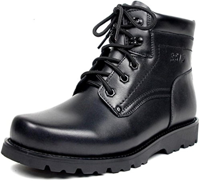 Zapatos de Hombre de Cuero Genuino de Invierno Casual Martin Boots Trabajo Combate Militar Clásico Con Cordones...
