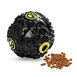 Dog Treat Dispensing Toy, Pets Empire Interactive IQ Treat Training Toy Squeaky Dispenser Ball for Dogs(Color May Vary…