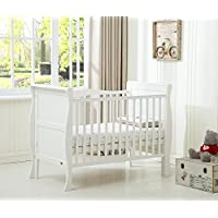 Solid Wooden Cot Bed Savannah Sleigh Toddler Bed with Premier Water Repellent Mattress - Made in England - MCC®