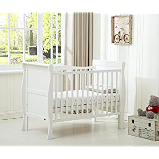 Mcc® Solid Wooden Baby Cot Bed Savannah Sleigh Cotbed Toddler Bed & Premier Water Repellent Mattress - Made in England (Mattress Size: 120 * 60cm)
