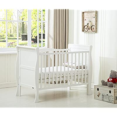 MCC® Solid Wooden Baby Cot Bed Savannah Sleigh Cotbed Toddler Bed & Premier Water Repellent Mattress - Made in England  Fence