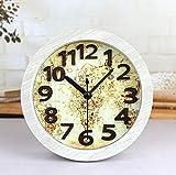 CWLLWC tischuhr standuhr, Retro-Nautische Karte Stereo Machen alte Holz Uhr kreative Zahlentabelle Uhr Tabelle 12 * 12cm