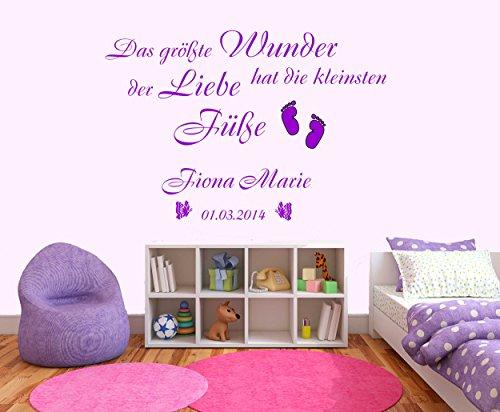 Preisvergleich Produktbild Wandtattoo - Das größte Wunder hat die kleinsten Füße - 87x59cm - Wandaufkleber Wandsticker Kinderzimmer Baby Melis-Folienwerkstatt W112