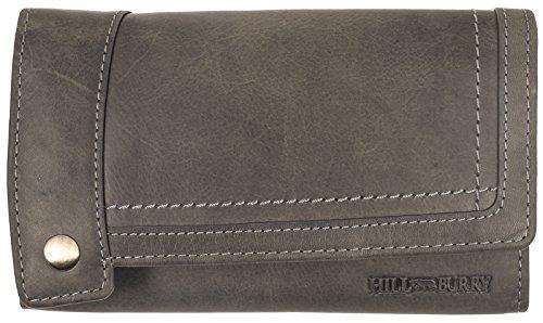 Hill Burry Damen Portmonnaie | Vintage echt Leder Geldbörse - Used Look Geldbeutel - XL Lang Kreditkartenetui (Grau)