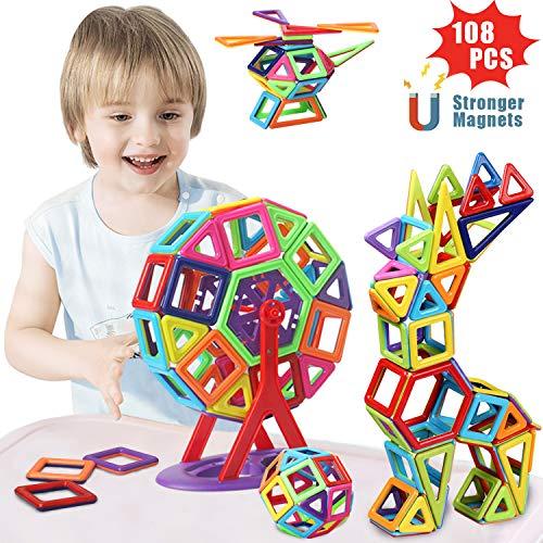 ACTRINIC 108Pcs Magnetische Bausteine Set für Kinder-3D Regenbogen Magnetische Fliesen Magnetische Konstruktionsblock Kits Spiele Geschenk für Jungen Mädchen 3 4 5 6 7 8 Jahre Junge-Stärkere Magneten