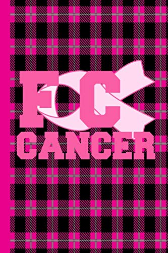 FC Cancer: FCK Cancer Gifts For Women Breast Cancer Gifts To Write In For Best Mom to Beat Cancer Plaid Black Pink Grey Design & Hot Pink Ribbon Love ... Glossy Women Mum Mom Mommy Mimi Auntie Sister Hot Pink Plaid Design