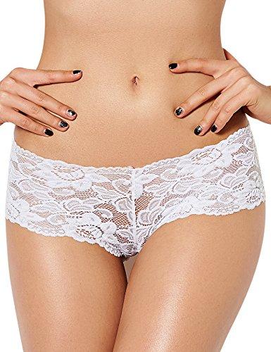 ohyeahlady Damen Übergröße Floralen Spitze Unterwäsche Unterhosen Transparente Panties Hipsters- Gr. 6X-Large=EUR 50-52, Weiß