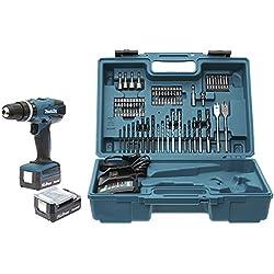 Makita HP347DWEX3 Perceuse Visseuse à percussion avec 2 batteries 14,4 V 1,3/74 accessoires en Coffret