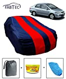 #9: Fabtec Car Body Cover for Honda City ZX with Storage Bag + Air Freshener + Microfiber Glove Combo! (Red & Blue)