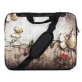TaylorHe 15 Zoll 15,6 Zoll Notebook Tasche, Schultertasche mit Muster, Laptoptasche mit Griff und Seitentaschen Laptop Shoulder Bag Schmetterlinge, Blumen, Vintage