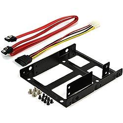 """Rhombutech® Dual Einbaurahmen für 2x 2,5"""" HDD/SSD's auf 3,5""""; Metall; optimiert für SSD; Adapter Wechselrahmen Mounting Frame Halterung Schienen inkl. Befestigungsschrauben"""