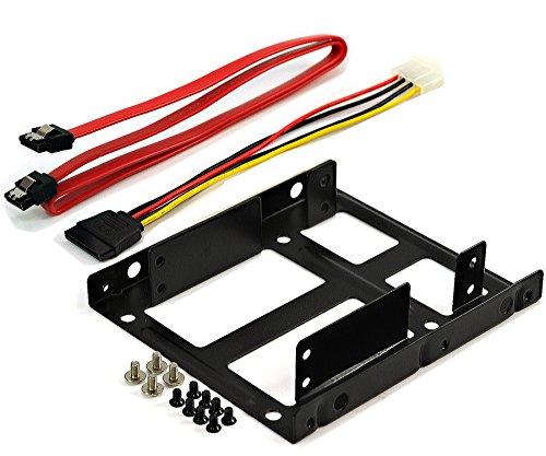 Rhombutech® Einbaurahmen für 2x 2,5 Zoll Festplatten oder SSD auf 3,5 Zoll