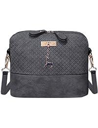 Zibuyu Women Fashion Crossbody Bag PU Plaid Deer Pendant Shoulder Bag(Grey)