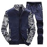 Honestyi Herbst Winter Herren Trainingsanzug Warm Fleece Sport Sweatshirt Mantel + Hosen Trainingsanzug(Marine,XXXL)