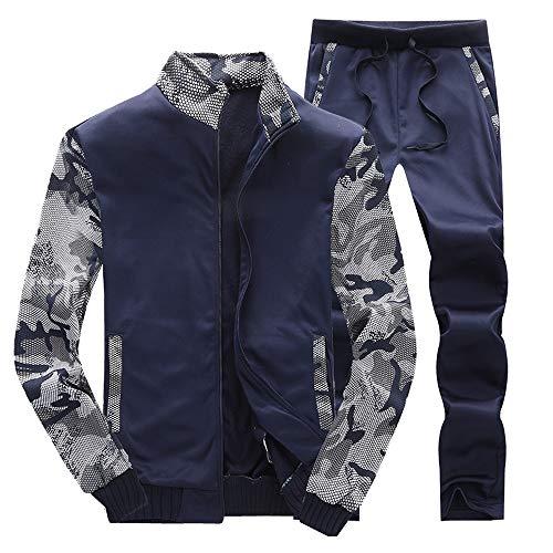 Herren Trainingsanzug, Winter Fleece Sport Sweatshirt Zipper Sweatshirt mit Hosen Set Herbst Mode Sport Anzug Wander Mantel Trainingsanzuguff08Marine,4XL