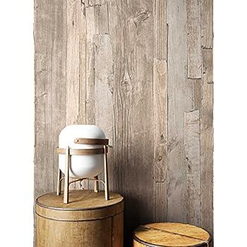 Holz Tapete Vlies Beige Braun Grau Edel | schöne edle Tapete im Holzwand  Design | moderne 3D Optik für Wohnzimmer, Schlafzimmer oder Küche inkl. ...