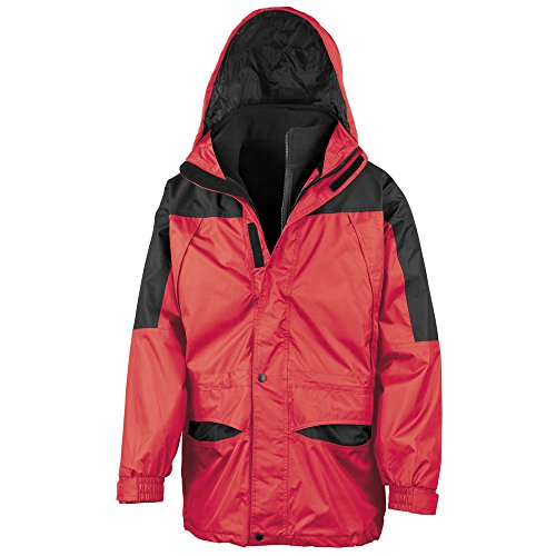 Result Mens 3 in 1 Zip Out Windproof and Waterproof Jacket Red/black