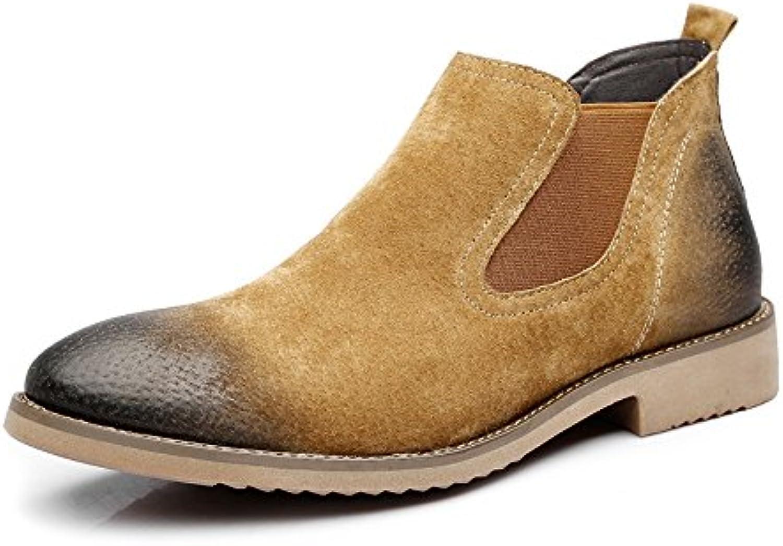 Yaojiaju Zapatos Oxford de Cuero para Hombres, Zapatos sin Cordones Ocasionales Botas con Suela Exterior con Bajos...