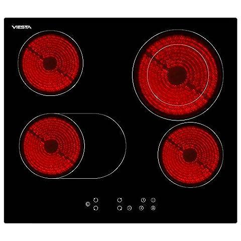 Viesta C4Z hochwertiges Glaskeramikkochfeld mit Dual-Kochzone und Bräterzone - Glaskeramikfeld mit Sensor-Touch-Display - Kochfeld Autark