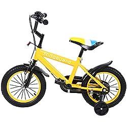 MuGuang 14 Pulgadas Bicicleta Infantil Estudio Aprendizaje Montar a Caballo Bicicleta niños niñas Bicicleta con ruedines con Campana por 3-8 años (Amarillo)