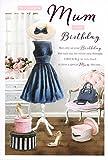 Zur Silberhochzeit Mum Geburtstagskarte–Blau Kleid, Handtasche, High Heels & Pink Roses 22,9x 15,2cm